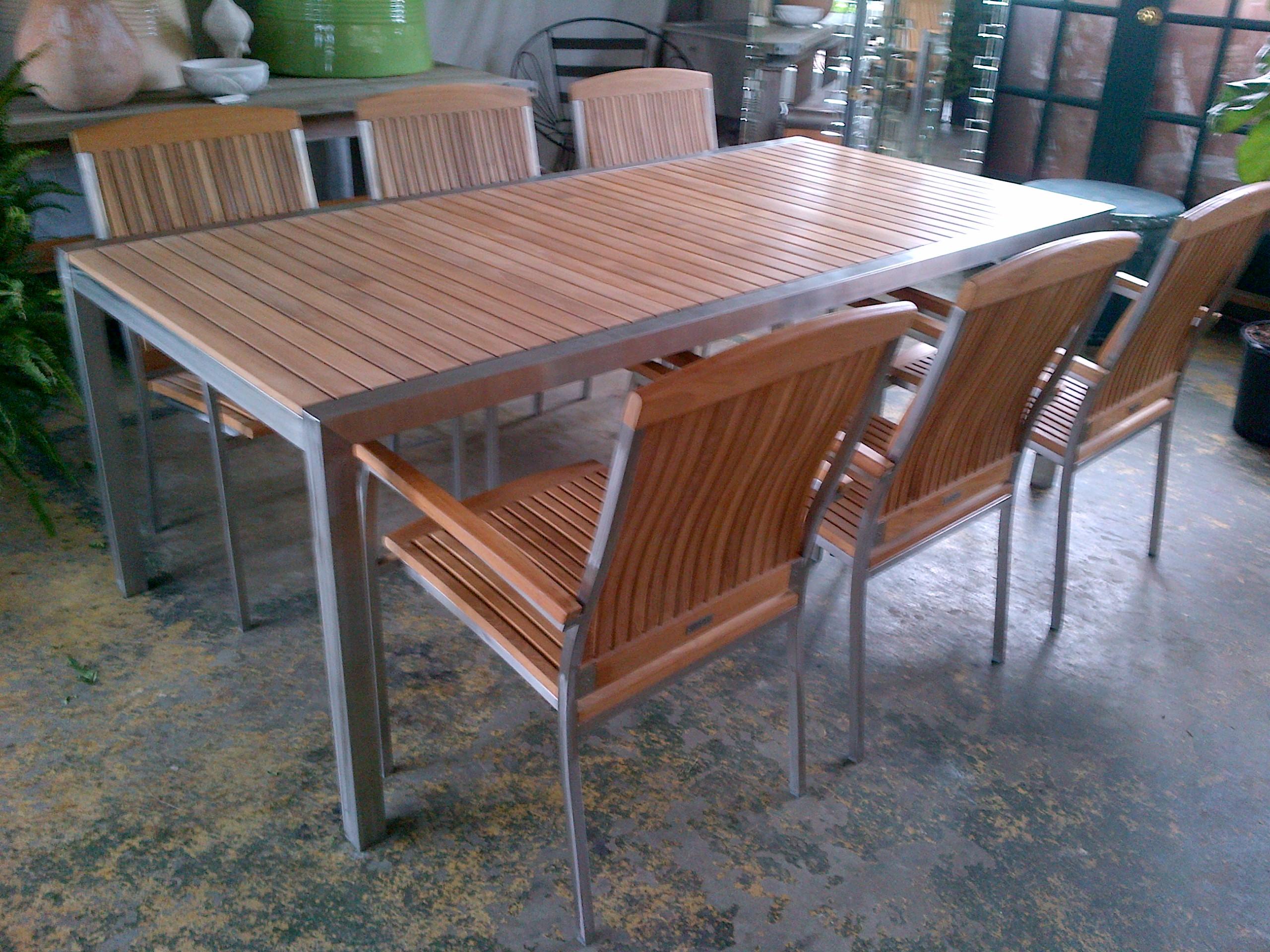 Teak Kitchen Table Teak dining table with stainless steel frame mecox teak dining table with stainless steel frame workwithnaturefo