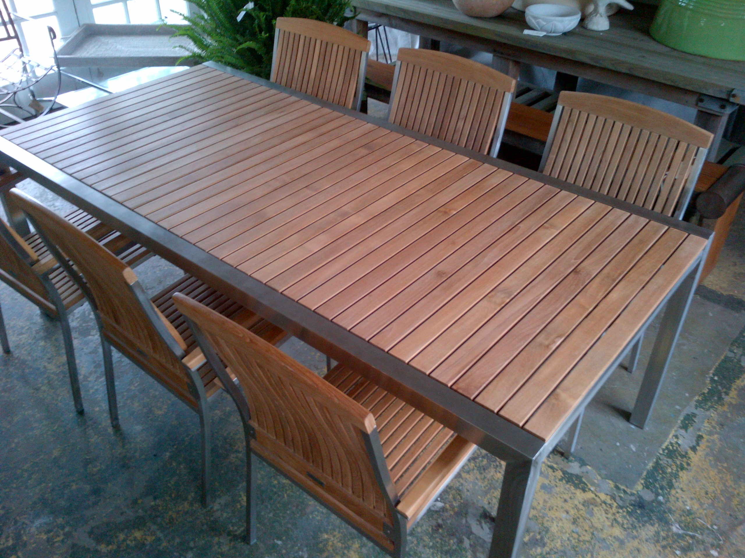 Teak Dining Table With Stainless Steel Frame