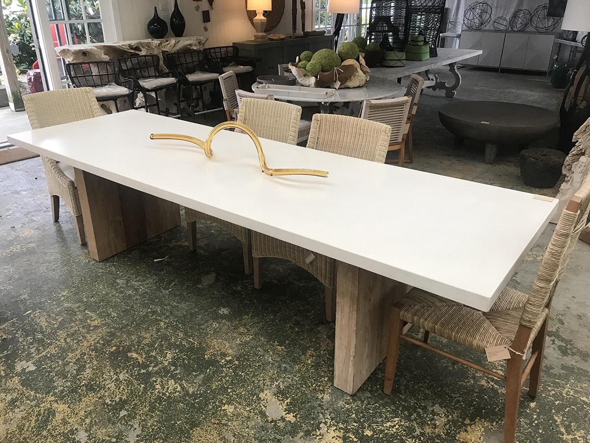 Concrete And Teak Rectangular Dining Table Mecox Gardens