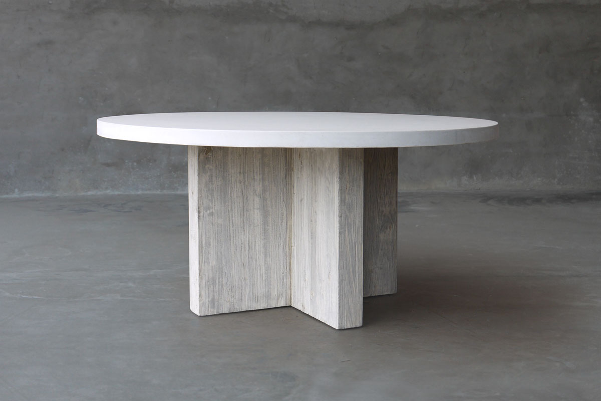 Round Concrete And Reclaimed Elm Dining Table Mecox Gardens - Oval concrete dining table