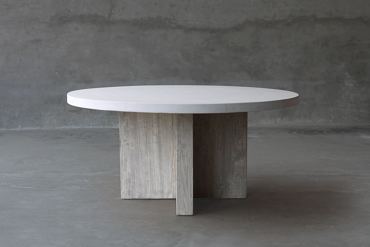 Prime Round Concrete And Reclaimed Elm Dining Table Mecox Gardens Pabps2019 Chair Design Images Pabps2019Com