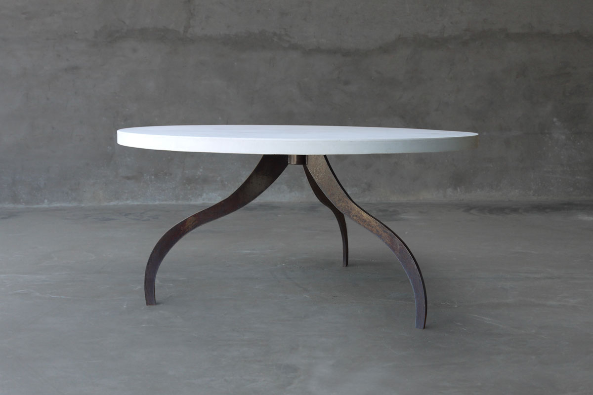 Round Concrete Dining Table With Tripod Metal Base Mecox Gardens - Concrete and metal dining table
