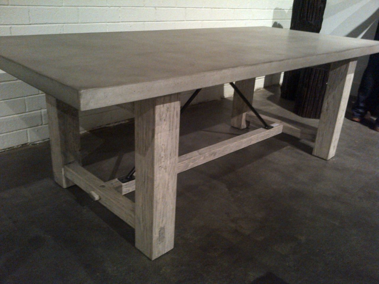 Concrete And Reclaimed Wood Rustic Farm Table