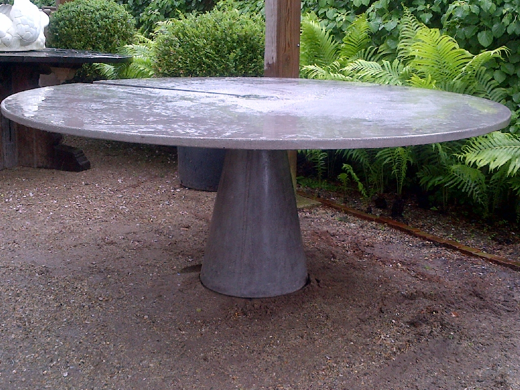 concrete outdoor dining table. Large Round Concrete Slice Dining Table Outdoor I