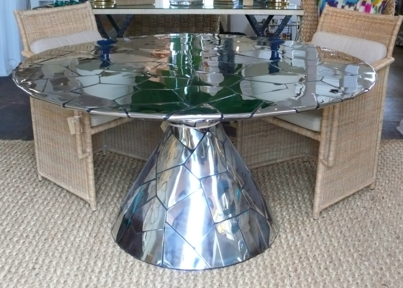 Round Abstract Stainless Steel Dining Table