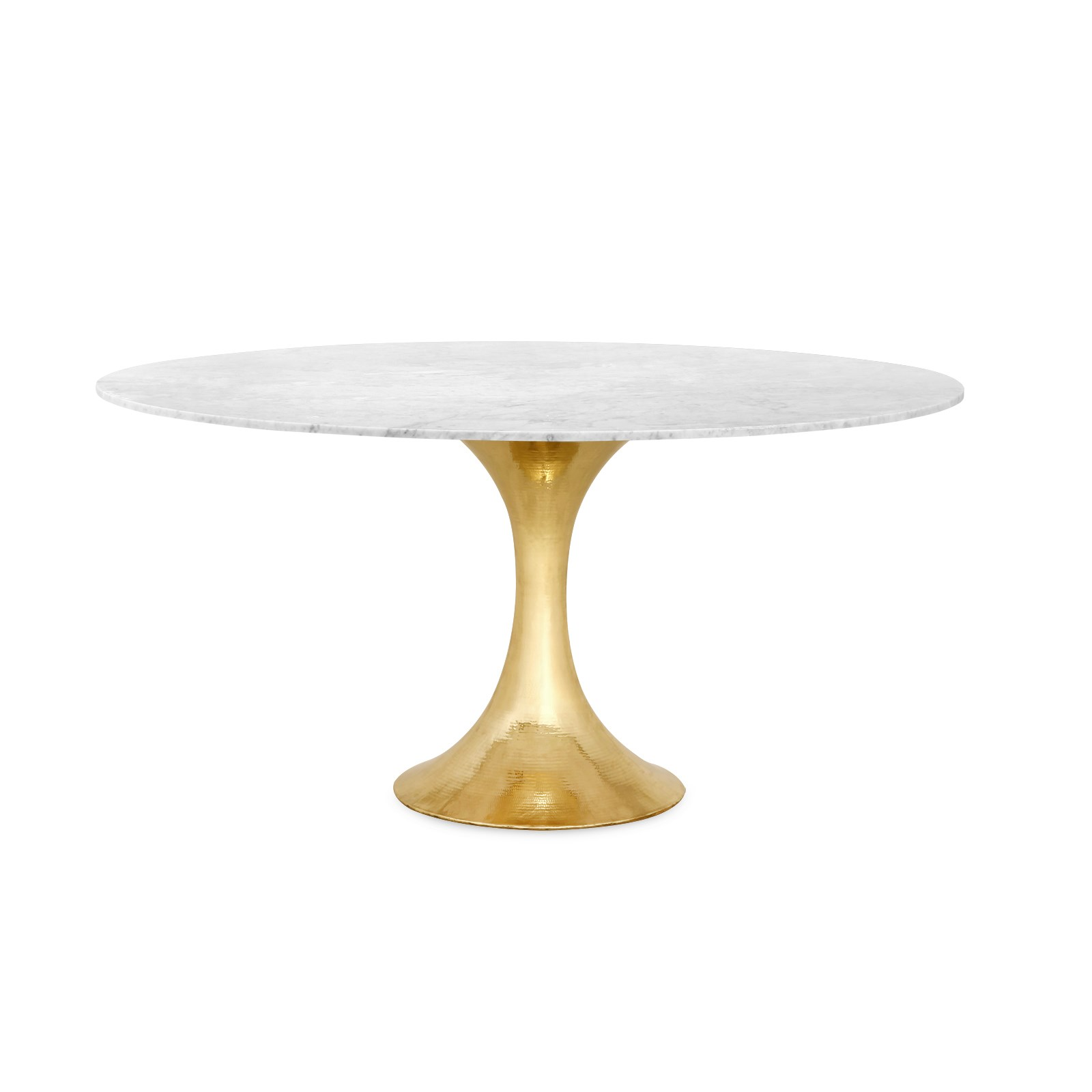 60 Stone Top Dining Table With Hammered Metal Base Mecox Gardens