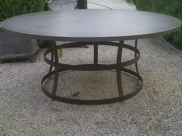 Round Concrete Table With Iron Base Mecox Gardens - Concrete and metal dining table
