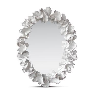 Oval Faux White Coral Framed Mirror Mecox Gardens