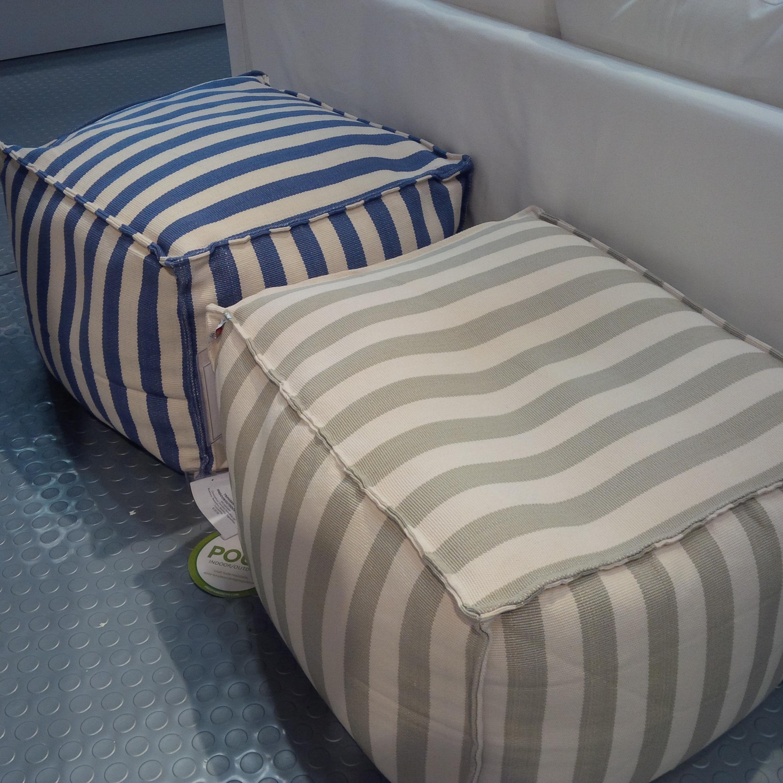 Indoor Outdoor Striped Rectangular Pouf