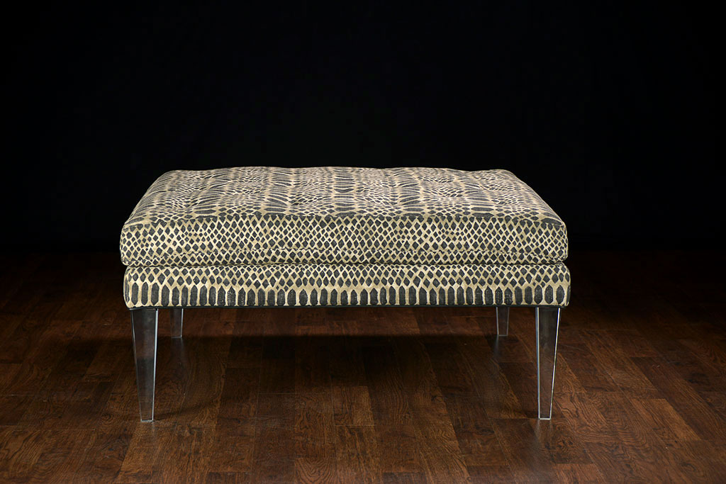Miraculous Square Ottoman With Acrylic Legs And Tribal Fabric Mecox Creativecarmelina Interior Chair Design Creativecarmelinacom