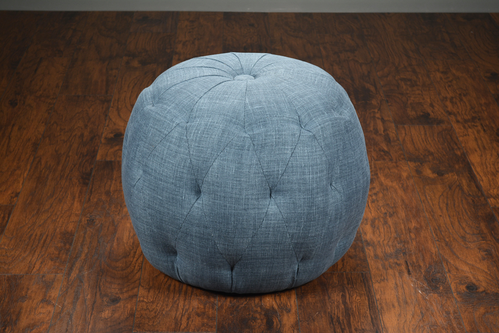 Astounding Midnight Blue Tufted Pouf Ottoman Mecox Gardens Machost Co Dining Chair Design Ideas Machostcouk