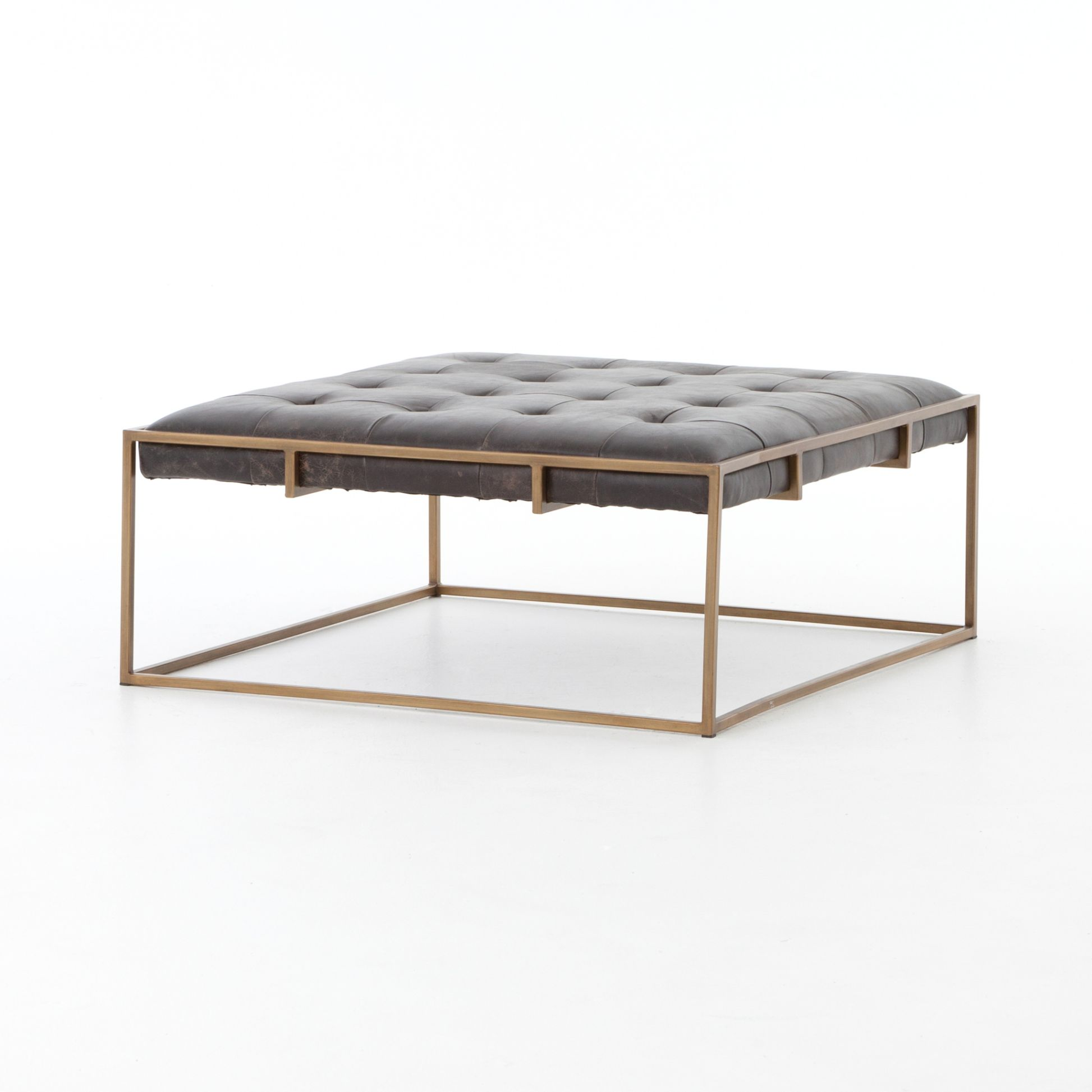 Wonderful Square Tufted Leather Coffee Table Ottoman - Mecox Gardens PE41