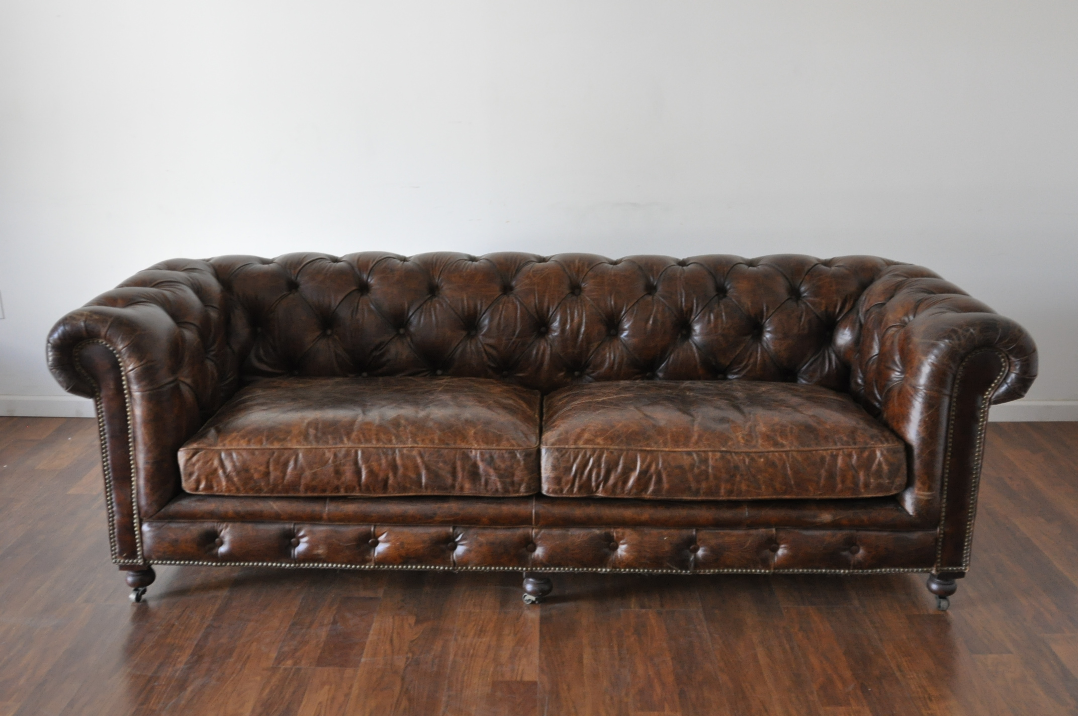 Merveilleux Small David Tufted Leather Sofa