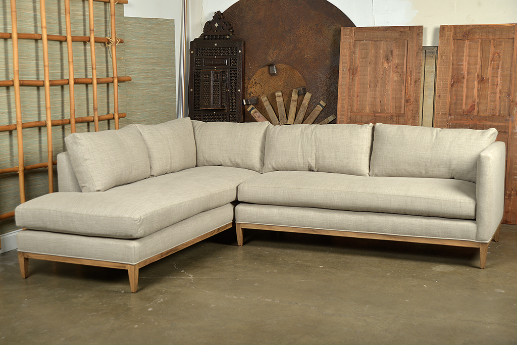 Holloway Sectional Sofa in Pewter Linen - Mecox Gardens
