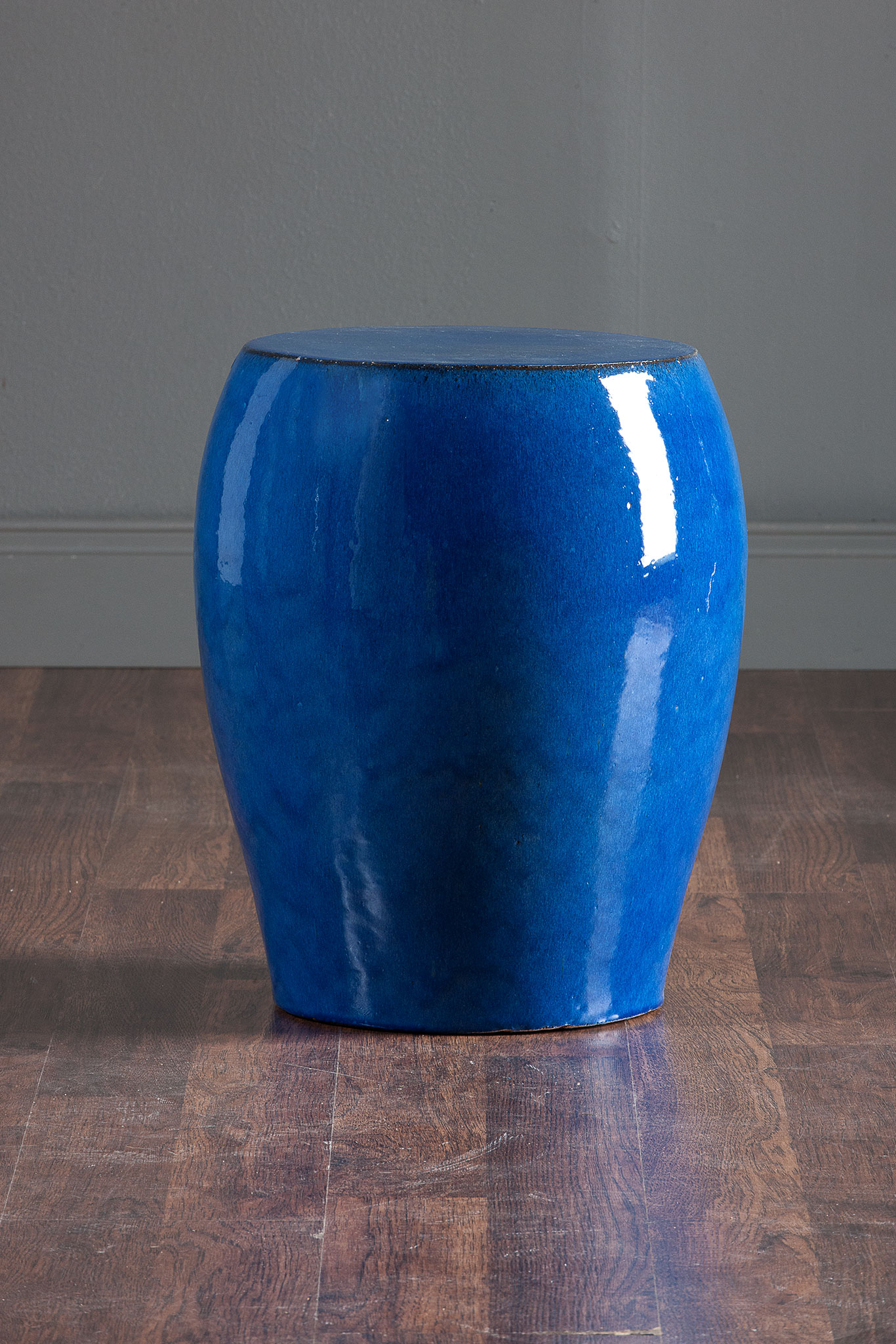 Round Tapered Blue Garden Stool Mecox Gardens