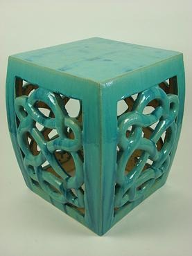 Awesome Ceramic Teal Blue Eternity Stool Mecox Gardens Creativecarmelina Interior Chair Design Creativecarmelinacom