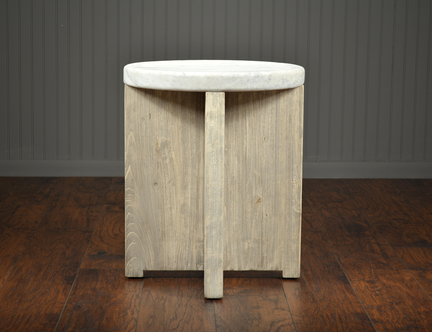 Superieur Round Stone Top Side Table ...