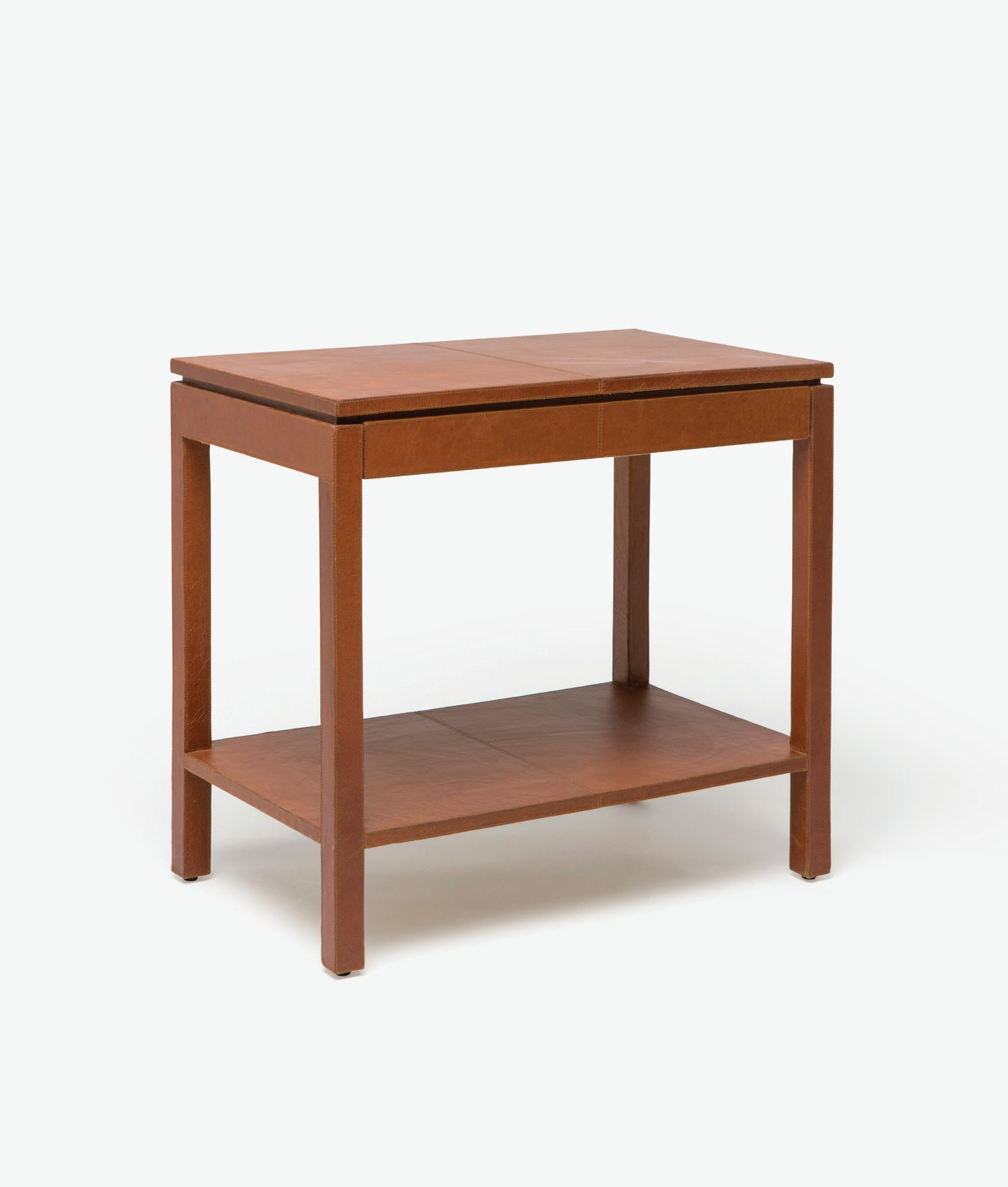 Large Chastain Leather Side Table