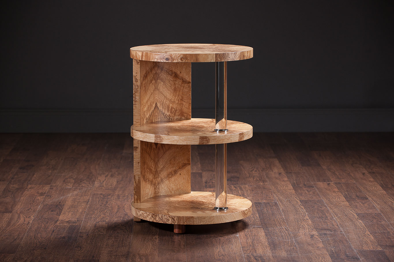 Olive ash burl wood three tier side table mecox gardens