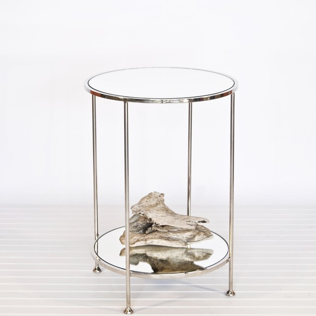 Small Round Nickel Mirrored Side Table Mecox Gardens