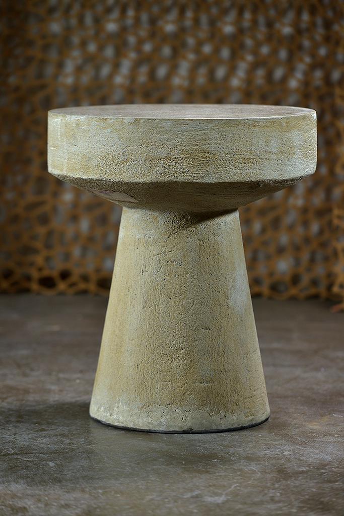 Hughes Concrete Pedestal Side Table Mecox Gardens