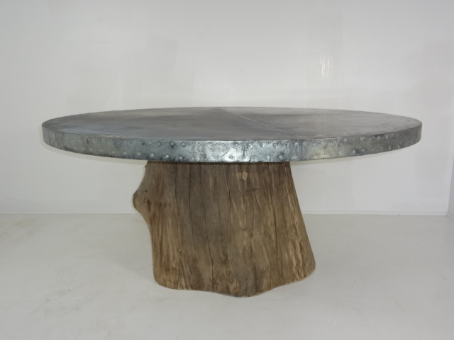 Unavailable   Zinc Top Tree Trunk Base Dining Table